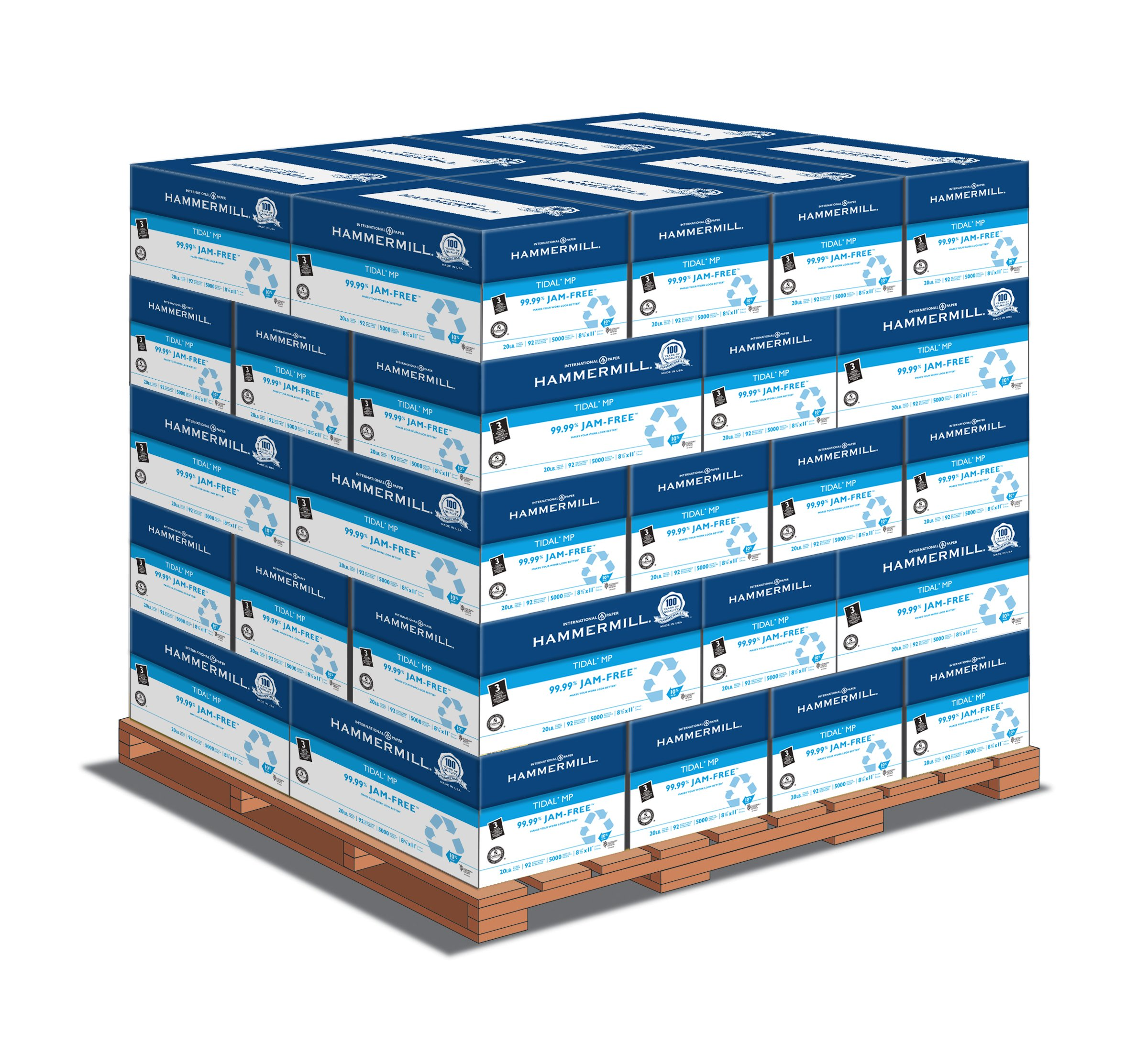Hammermill Paper, Tidal Multipurpose, 8.5 x 11, Letter, 20lb, 3 Hole Punched, 92 Bright, 5000 Sheets per Carton - 40 Cartons per Pallet, 200,000 Sheets (162032PLT) Pallet Pricing, Made In The USA