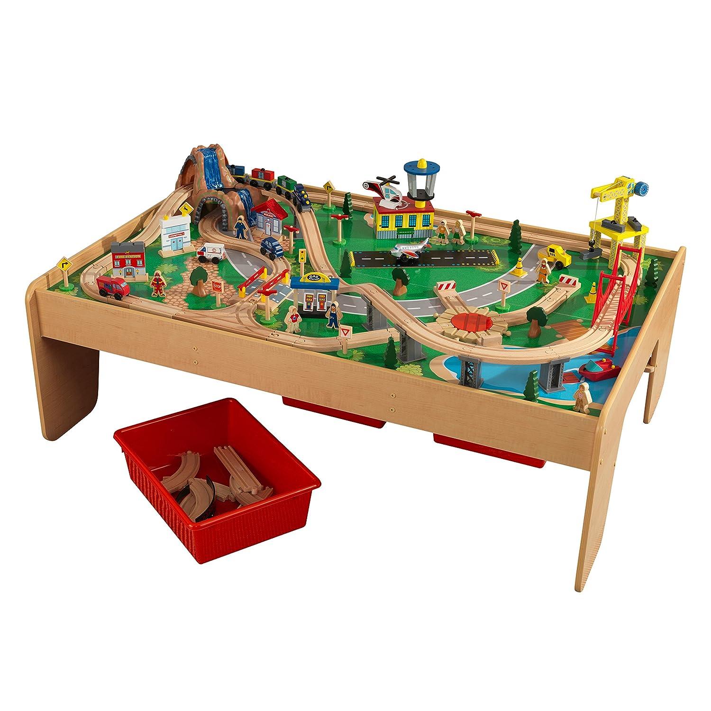 KidKraft 17850 Circuito de tren de juguete y tablero de madera para niños Waterfall Mountain con almacenaje y 120 piezas de juego incluidas