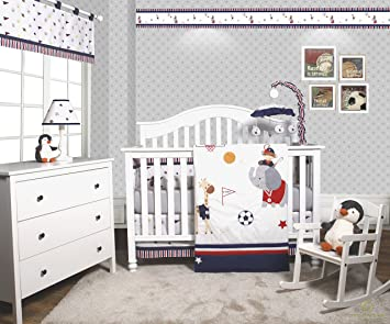 Porter Animal Sports Festival 6 Piece Baby Boy Nursery Crib Bedding Set Set of 6