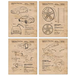 Vintage Tesla Motors Car Patent Poster Prints, Set of 4 (8x10) Unframed Photos, Wall Art Decor Gifts Under 20 for Home Office, Garage, Man Cave, College Student, Teacher, Coach, Electric Engineer Fan