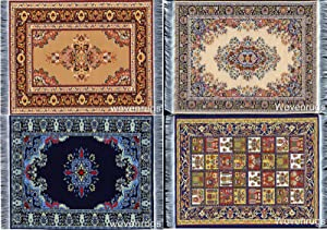 "Set of 4 Dolls House Rugs for Dollhouse Furniture - Miniature Woven Dollhouse Carpet - 6"" X 4"""