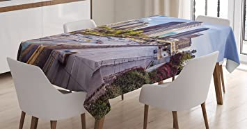 Charmant Travel Decor Tablecloth By Ambesonne, Downtown Cityscape Of Los Angeles  California USA Avenue Buildings Palms