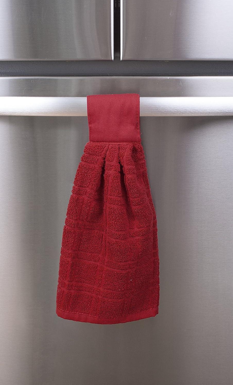 Paprika Red 95883 Ritz KitchenWears 100/% Cotton Terry Hanging Kitchen Tie Towel