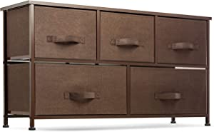 Wide 5 Drawer Dresser Storage Tower - Sturdy Steel Frame, Wood Top, Easy Pull Fabric Bins - Organizer Unit for Bedroom, Hallway, Entryway, Closets - Textured Print (Brown)