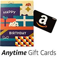 Amazon Happy Birthday Premium Greeting Card with Anytime Gift Card (Pack of 3)