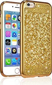 ZCDAYE Case for iPhone 6 Plus iPhone 6S Plus,Bling Glitter [Crystal Rhinestone Diamond] Soft TPU Rubber Silicone [Electroplating Edge] Protective Back Case for iPhone 6 Plus/6S Plus 5.5