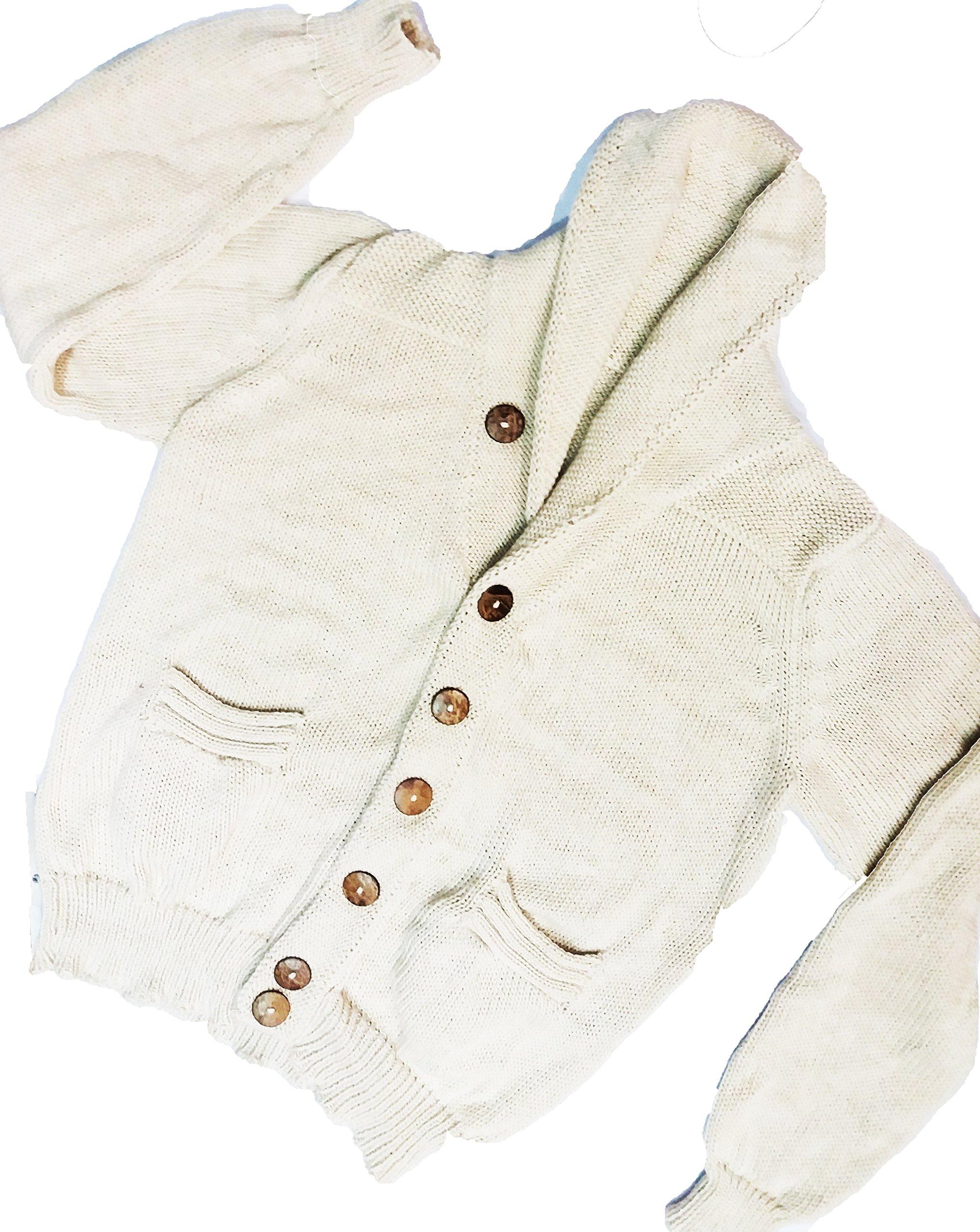 100% Royal Alpaca Charcoal Shawl Collar Cardigan, White/Ivory, Handmade XXXL