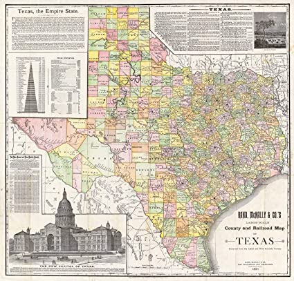 Railroad Map Of Texas.Amazon Com Historic Map Large Scale County And Railroad Map Of