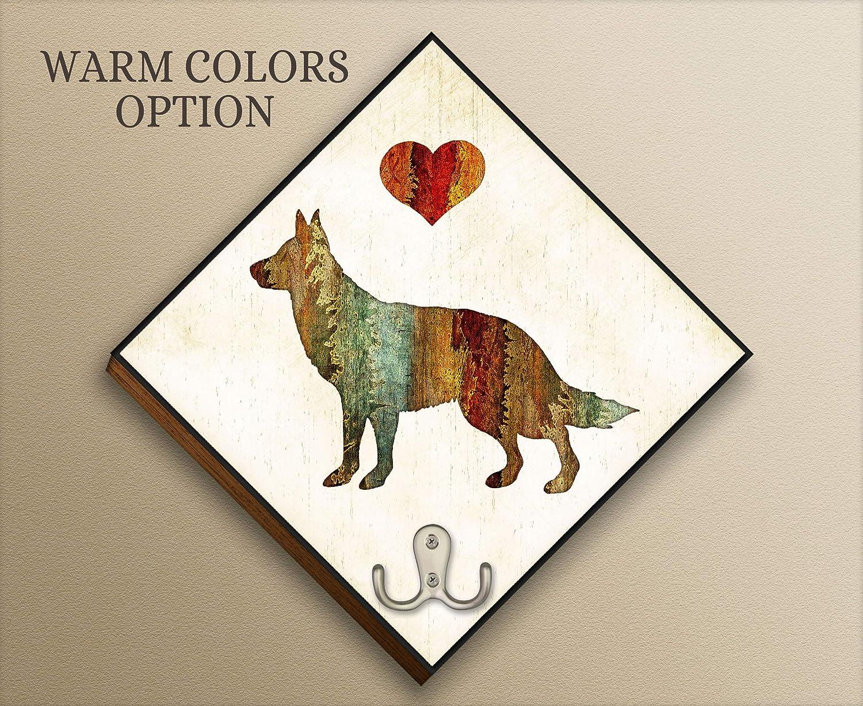 Custom Made Add Dog Name Artwork by Dan Morris German Shepherd Dog Breed Leash Hook Personalize