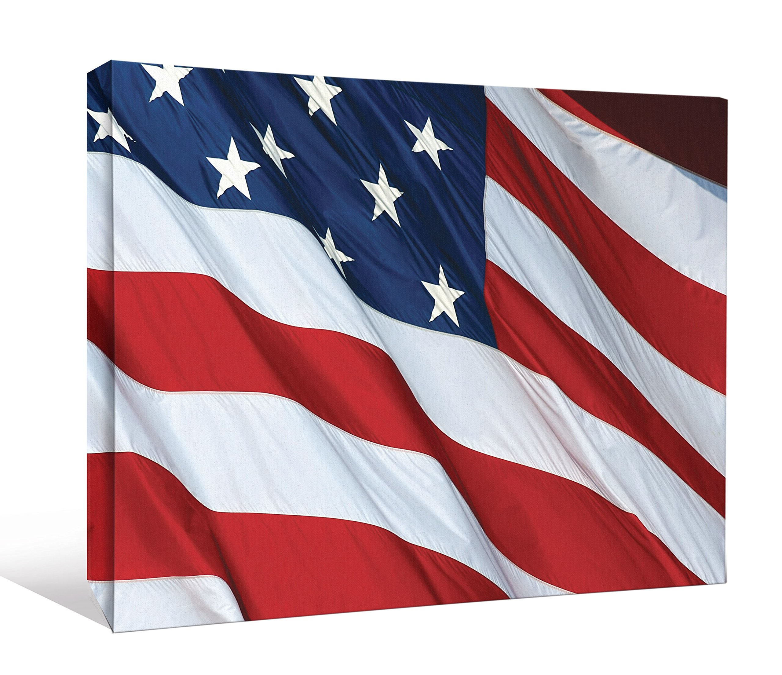 JP London DDCNV2159 Ready to Hang Feature Wall Art 2'' Thick Heavyweight Gallery Wrap Canvas God Bless America USA Flag At 60'' Wide by 40'' High