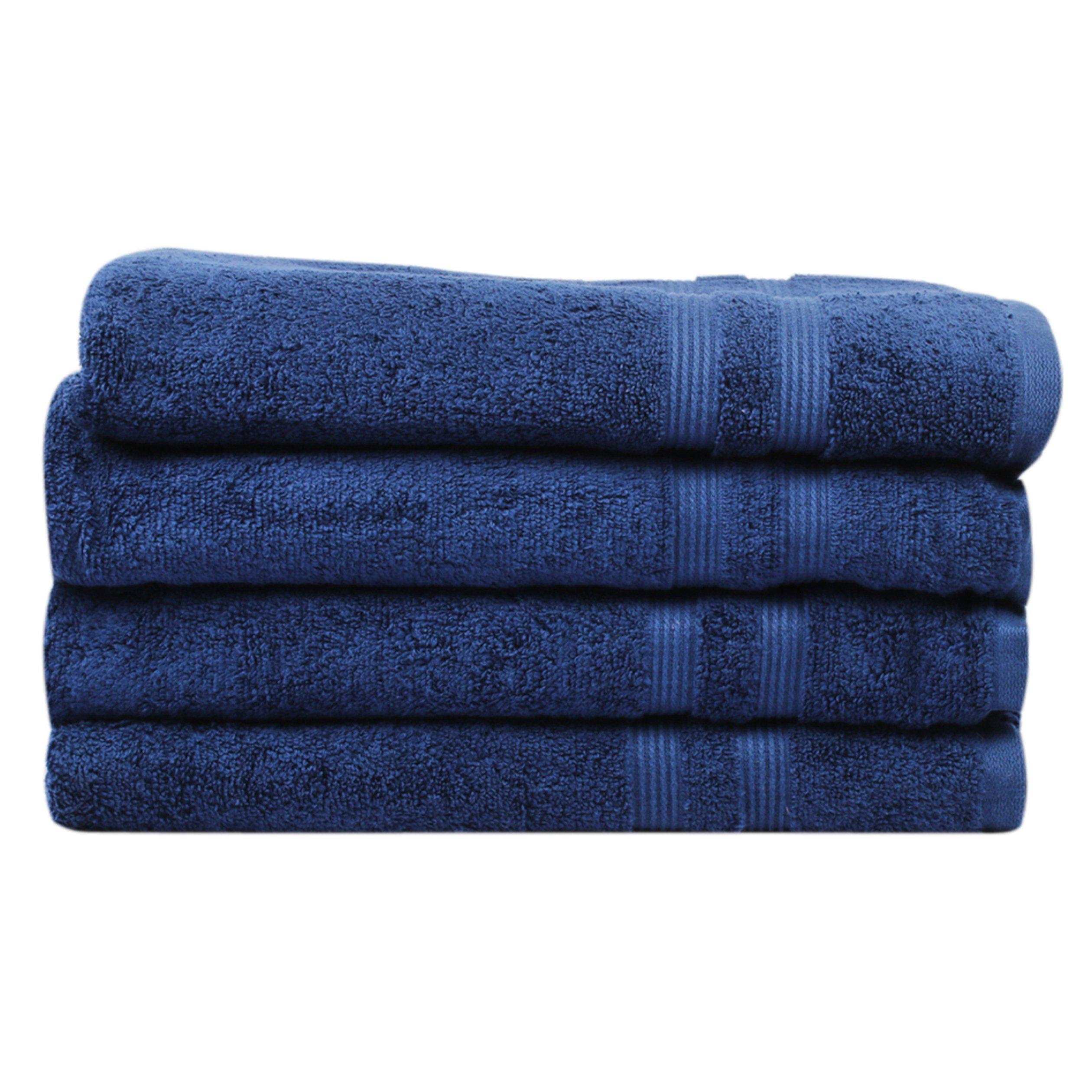 Divine 100% Ringspun Cotton Premium Luxury Turkish Bath Towels (30x54 Inch)–Set of 4,Plush,Soft,Ultra Absorbent,Machine Washable,Quick Dry,Eco-Friendly, SPA/Hotel Quality Towel Set (Navy Blue)