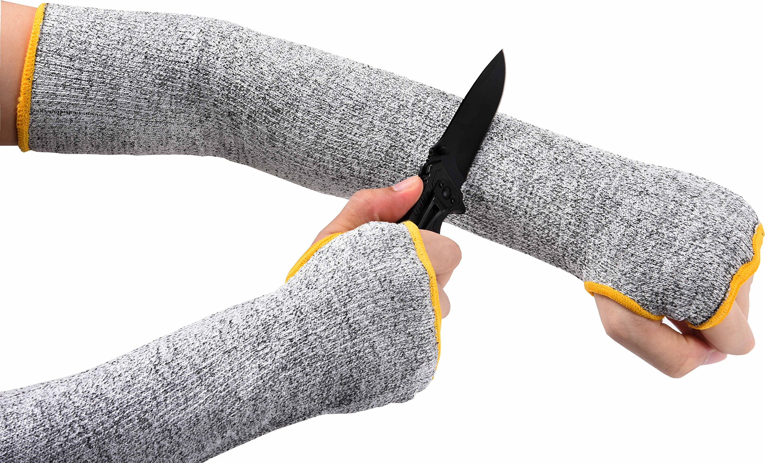 Hilinker Cut Resistant Sleeves Slash Resistant with Thumb Slot Helps Prevent Scrapes Scratches Skin Irritations UV-Protection Level 7 Protection Work Safety 18.8 inch Long Grey 1 Pair (Grey)