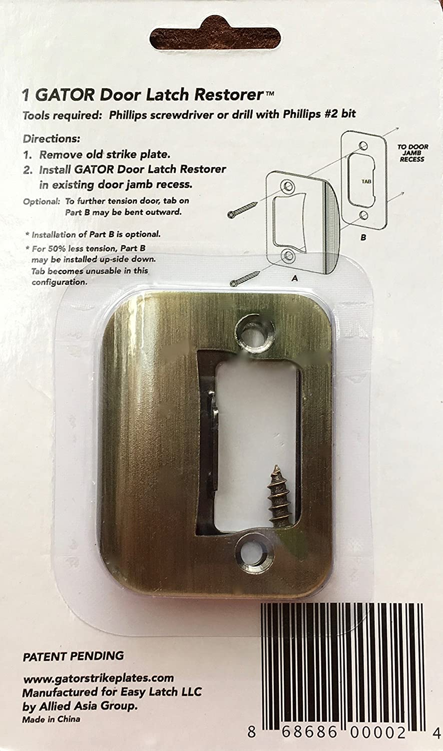 GATOR Door Latch Restorer   Strike Plate (Antique Brass)     Amazon.com