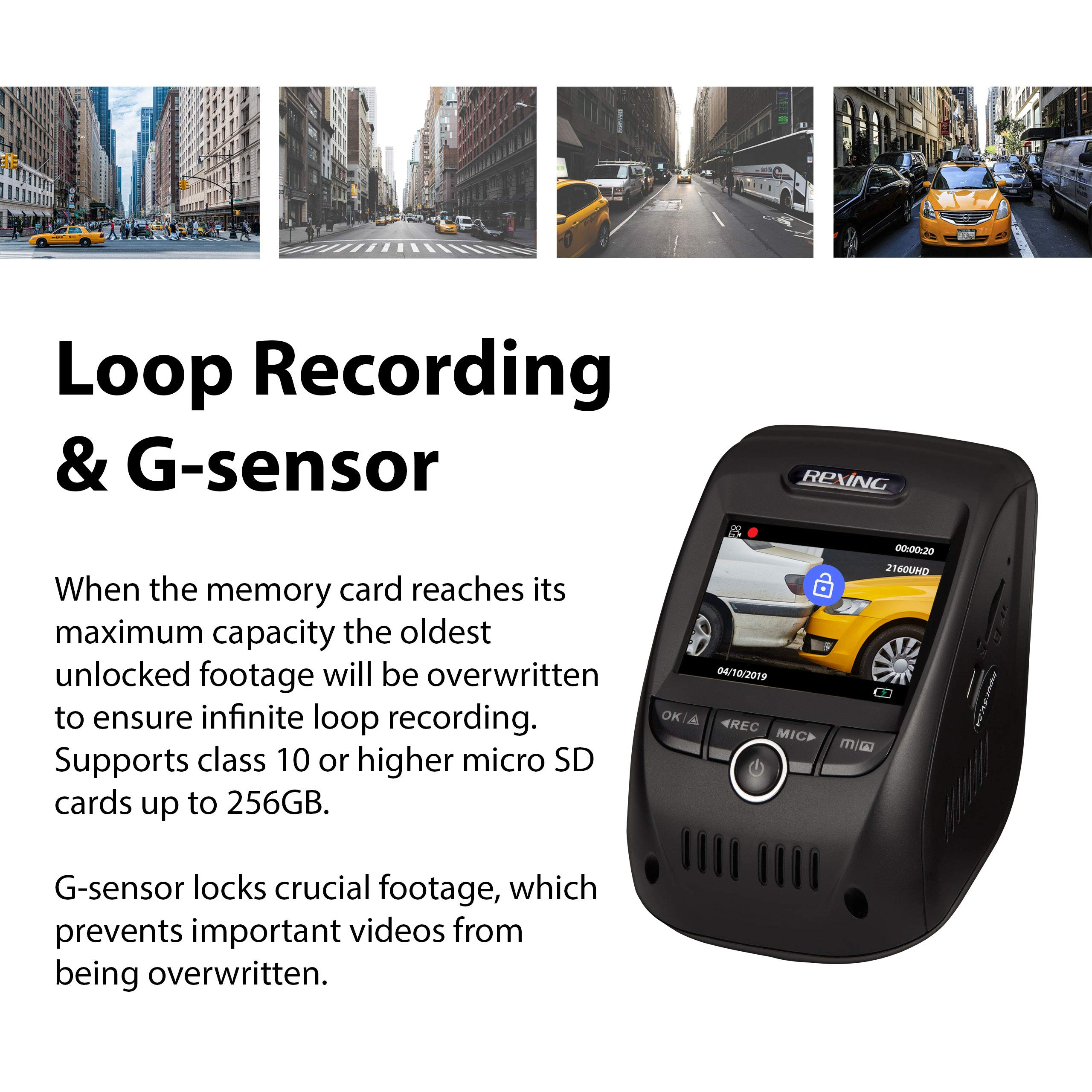 Rexing V1P 3rd Generation Dual 1080p Full HD Front and Rear 170 Degree Wide Angle Wi-Fi Car Dash Cam with Supercapacitor, 2.4'' LCD Screen, G-Sensor, Loop Recording, Mobile App by REXING (Image #8)