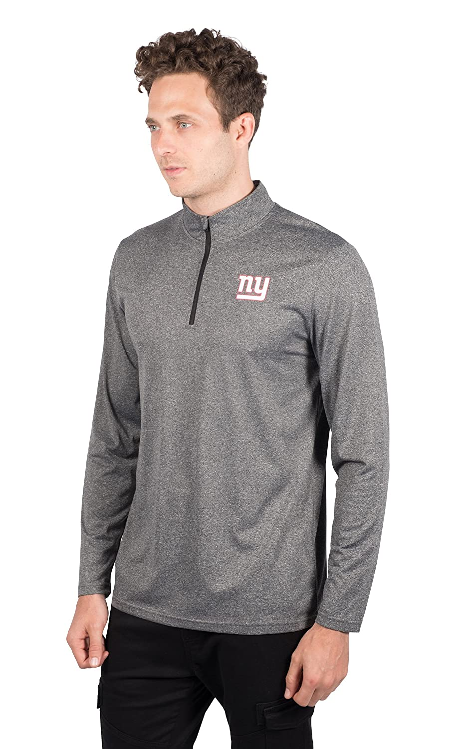 Small NFL New York Giants Ultra Game Mens LS POLY Quarter ZIP TEE Heather Charcoal 18