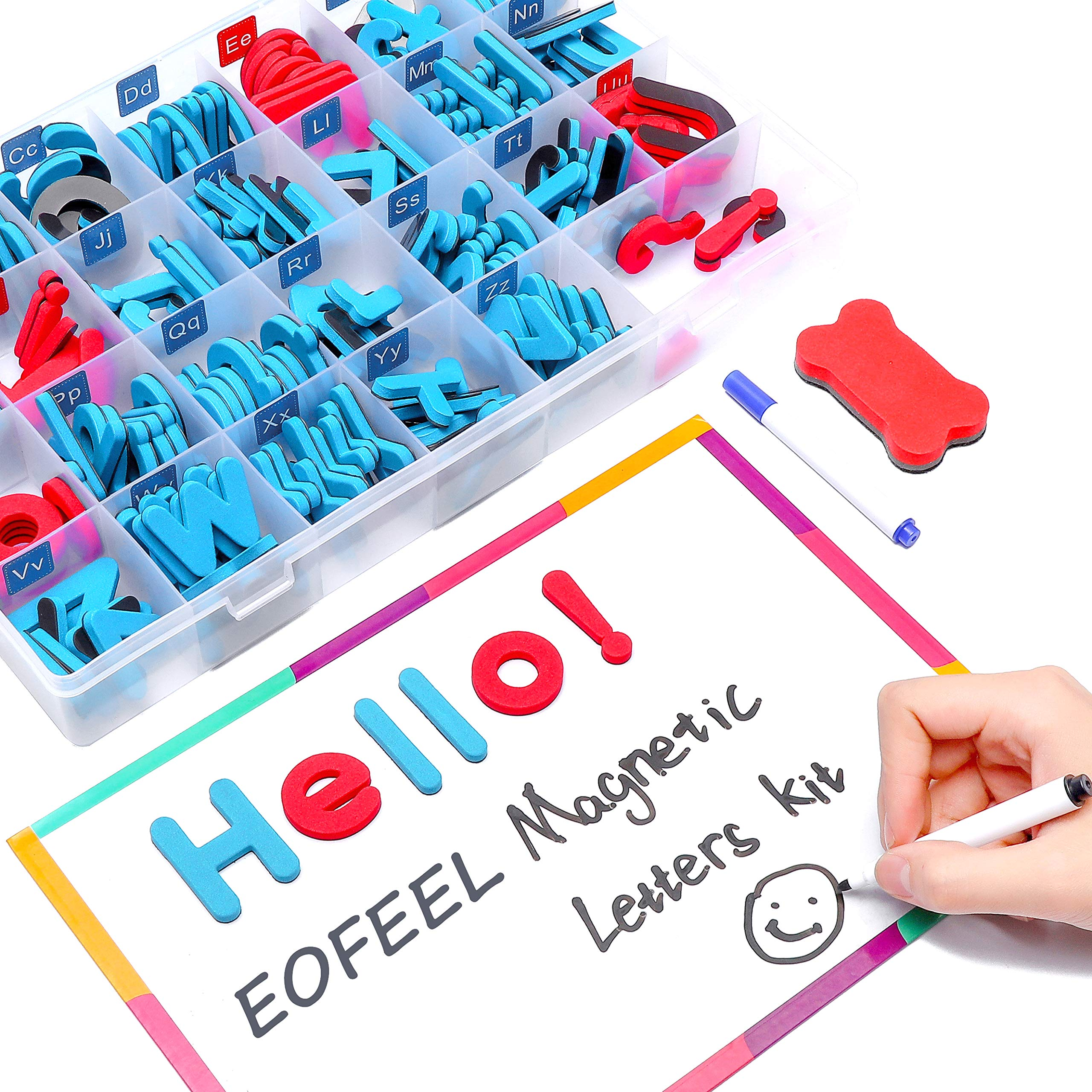 EOFEEL Magnetic Letters kit Double -Side Dry Erase Magnetic Board - Educational Vocabulary Alphabet Refrigerator Magnets for Kids Gift Set(208pcs,Red & Blue)
