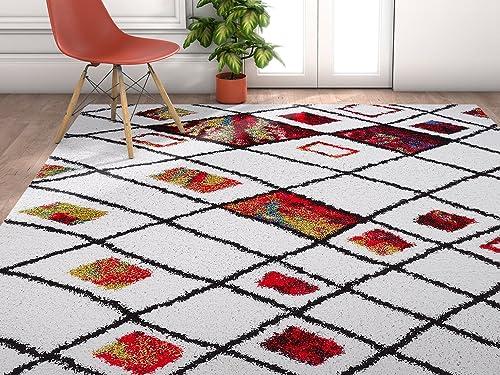 Enchante Bright Multi Color Moroccan Tribal Trellis Shag 2 x 3 2 x 3 Area Rug Plush Modern Bohemian Carpet