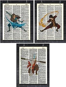 Avatar The Last Airbender Anime Wall Decor Set of (3) Katara Zuko Aang Avatar Dictionary Art Prints