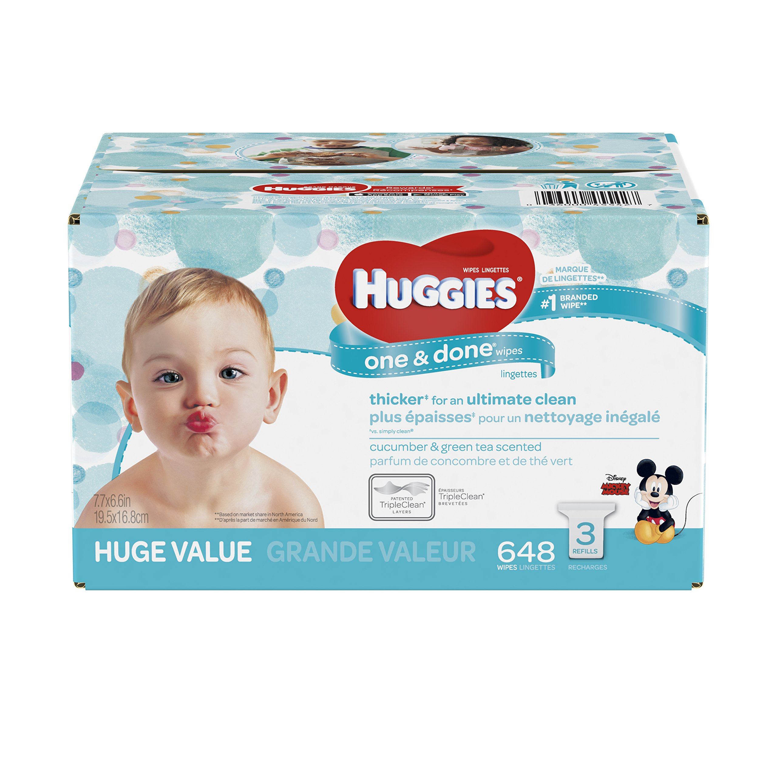 HUGGIES One and Done Refreshing Baby Wipes, 3 Refill Packs (648 Sheets Total), Scented, Alcohol-free, Hypoallergenic