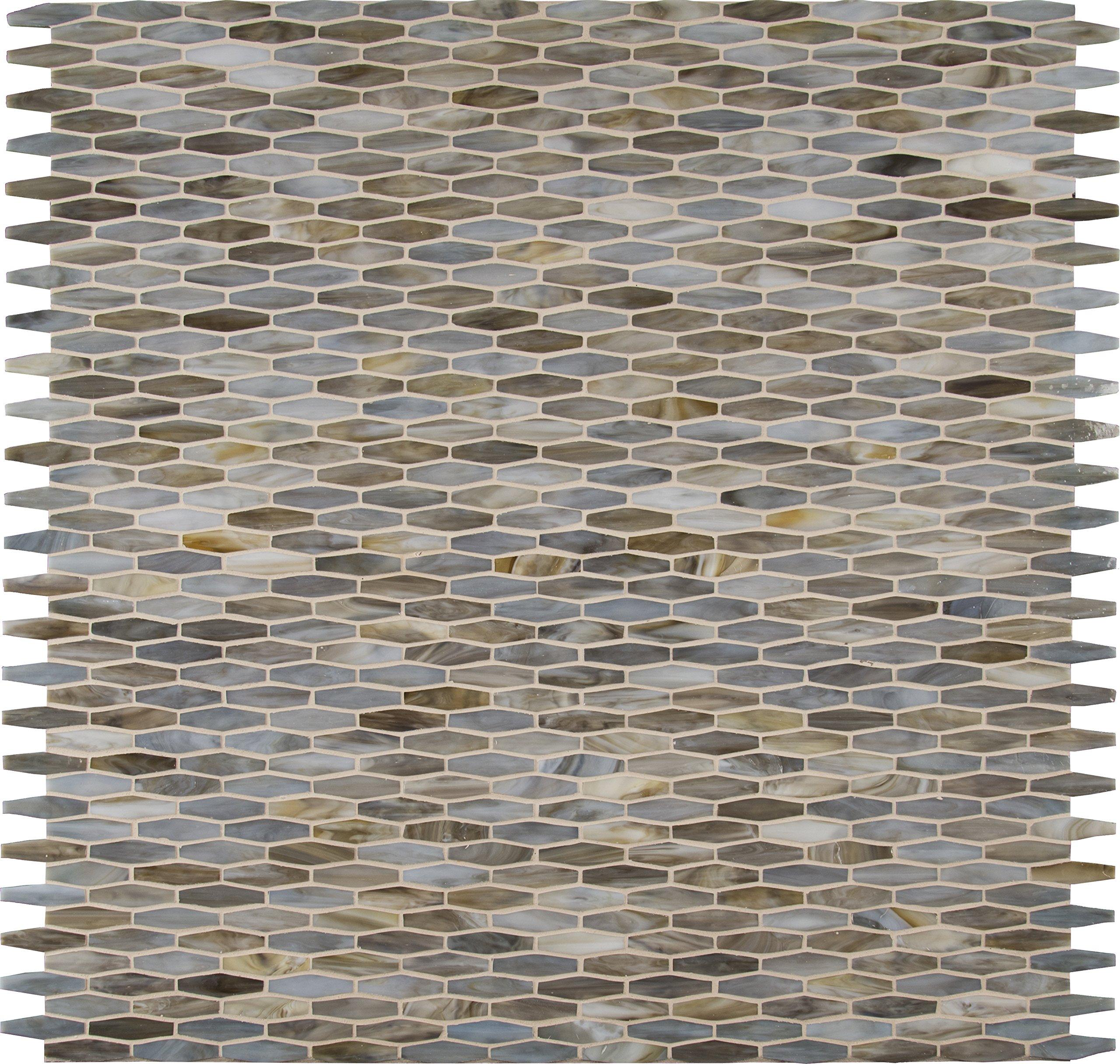 M S International Mochachino Mocha Chino 12 In. X 12 In. X 3mm Glass Mesh-Mounted Mosaic Wall Tile, (20 sq. ft., 20 pieces per case)