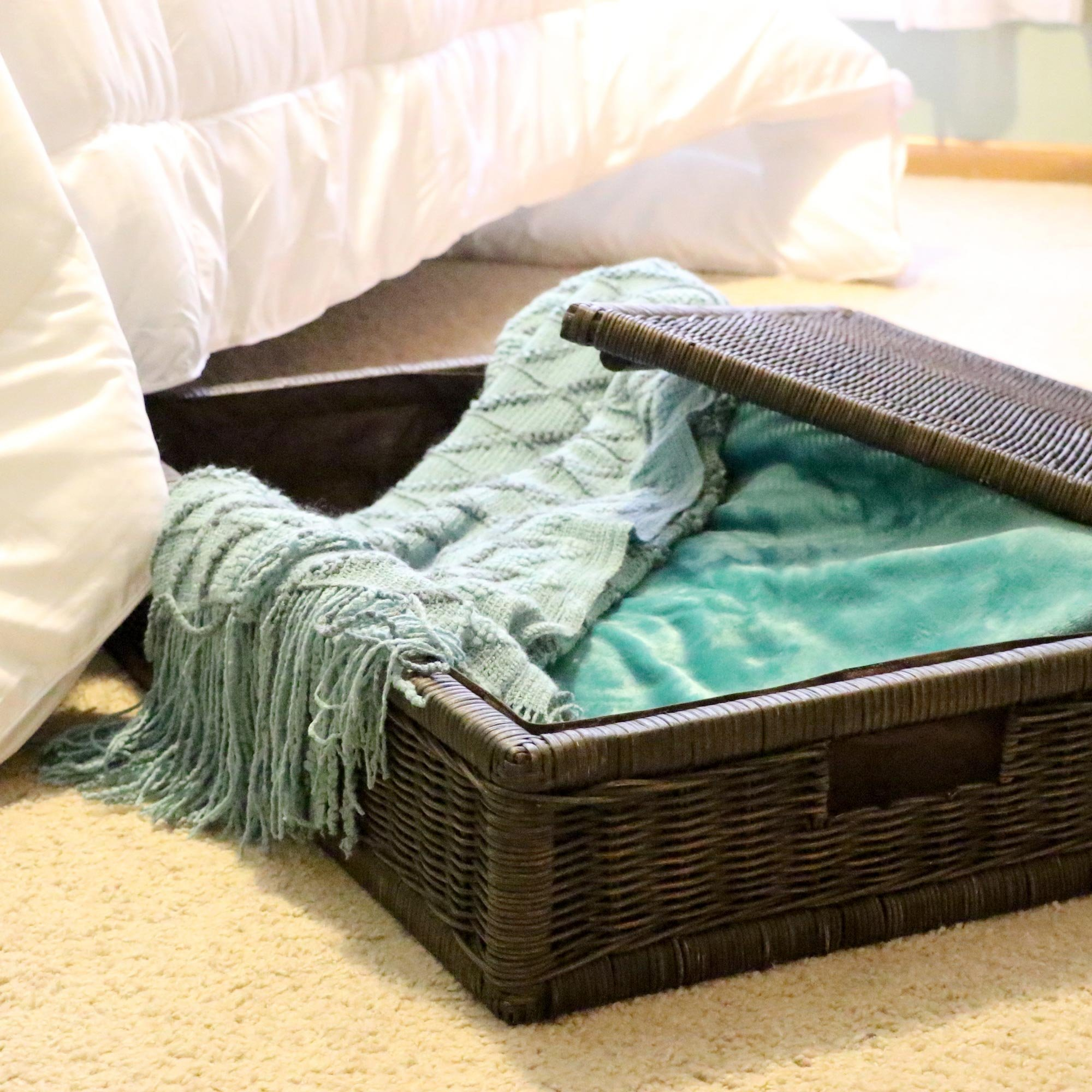 The Basket Lady Underbed Wicker Storage Box, Extra Large, 31 in L x 21 in W x 11 in H, Antique Walnut Brown by The Basket Lady