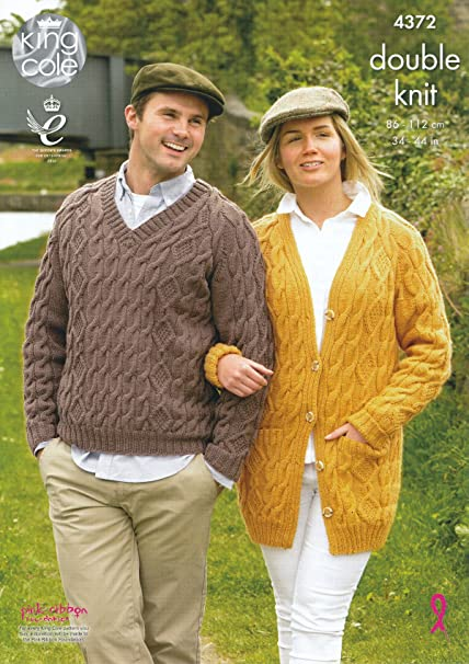 b1ea2d90bf King Cole Ladies   Mens Double Knitting Pattern Long Sleeve Cable Knit  Sweater   Cardigan DK (4372)  Amazon.co.uk  Kitchen   Home