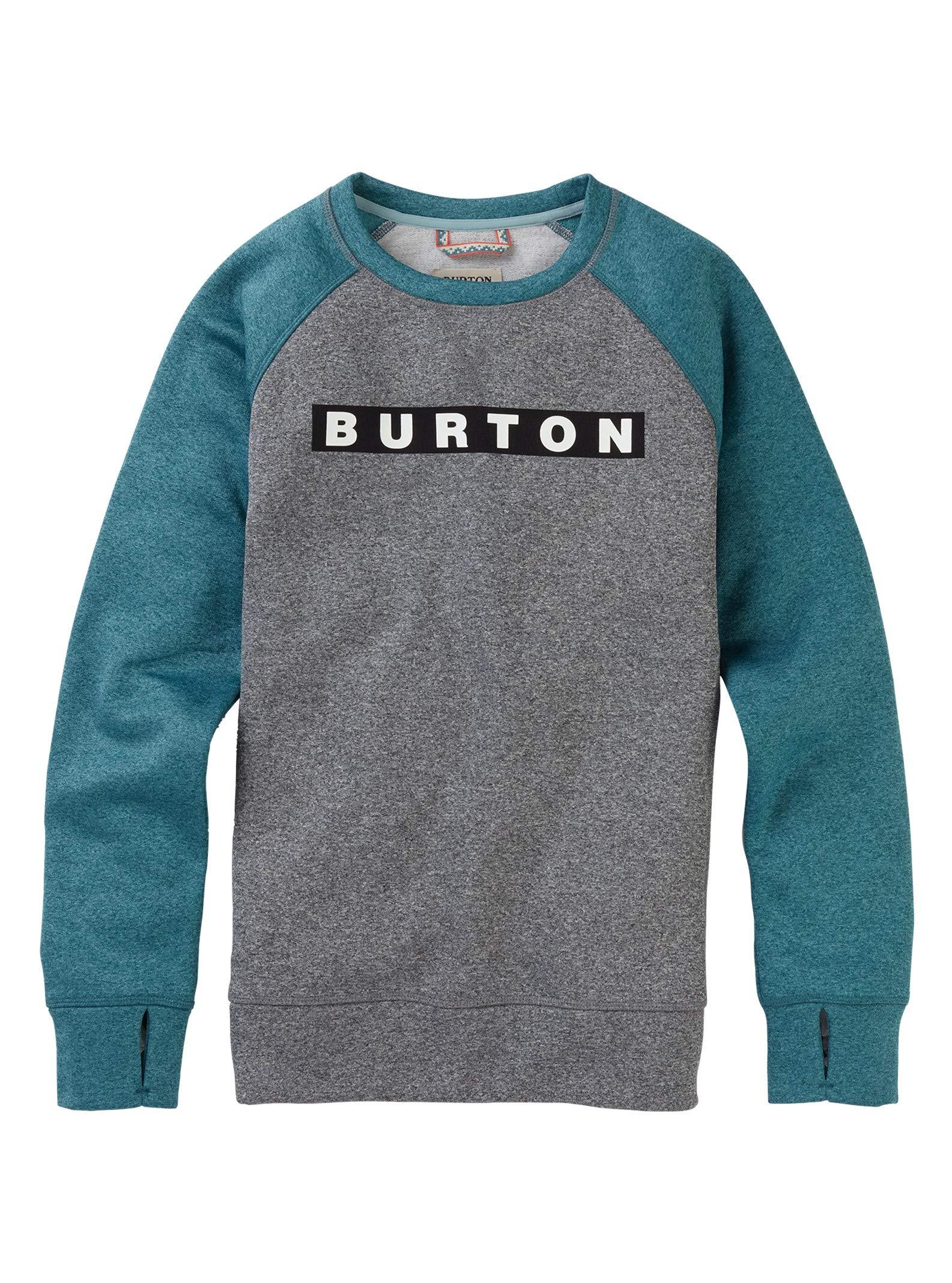 Burton Women's Oak Crew Sweatshirt, Gray Heather/Hydro Heather, Large by Burton