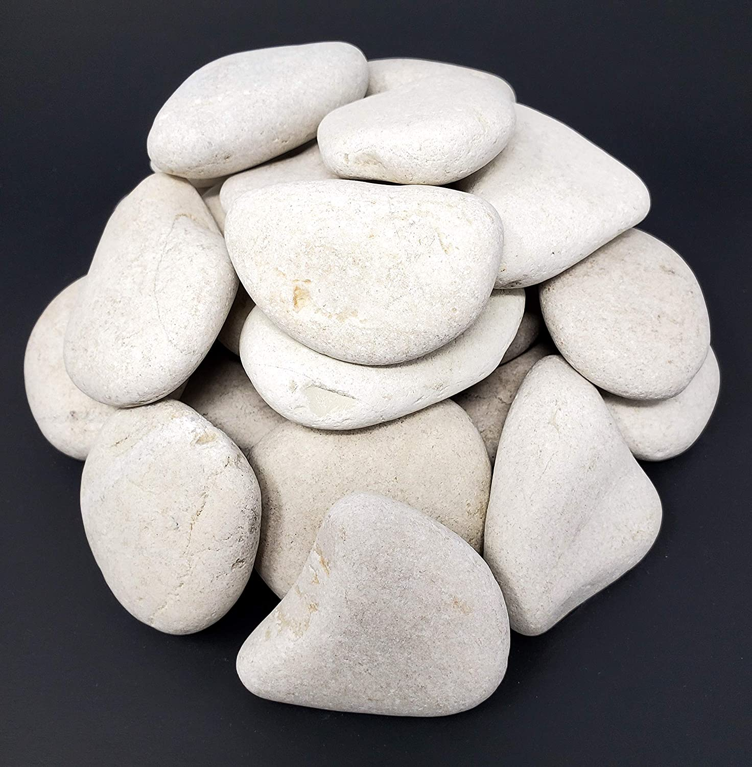 Capcouriers Garden Rocks (White) - Landscaping Rocks for Garden and Landscape Design - 5 Pounds (About 25 Rocks)