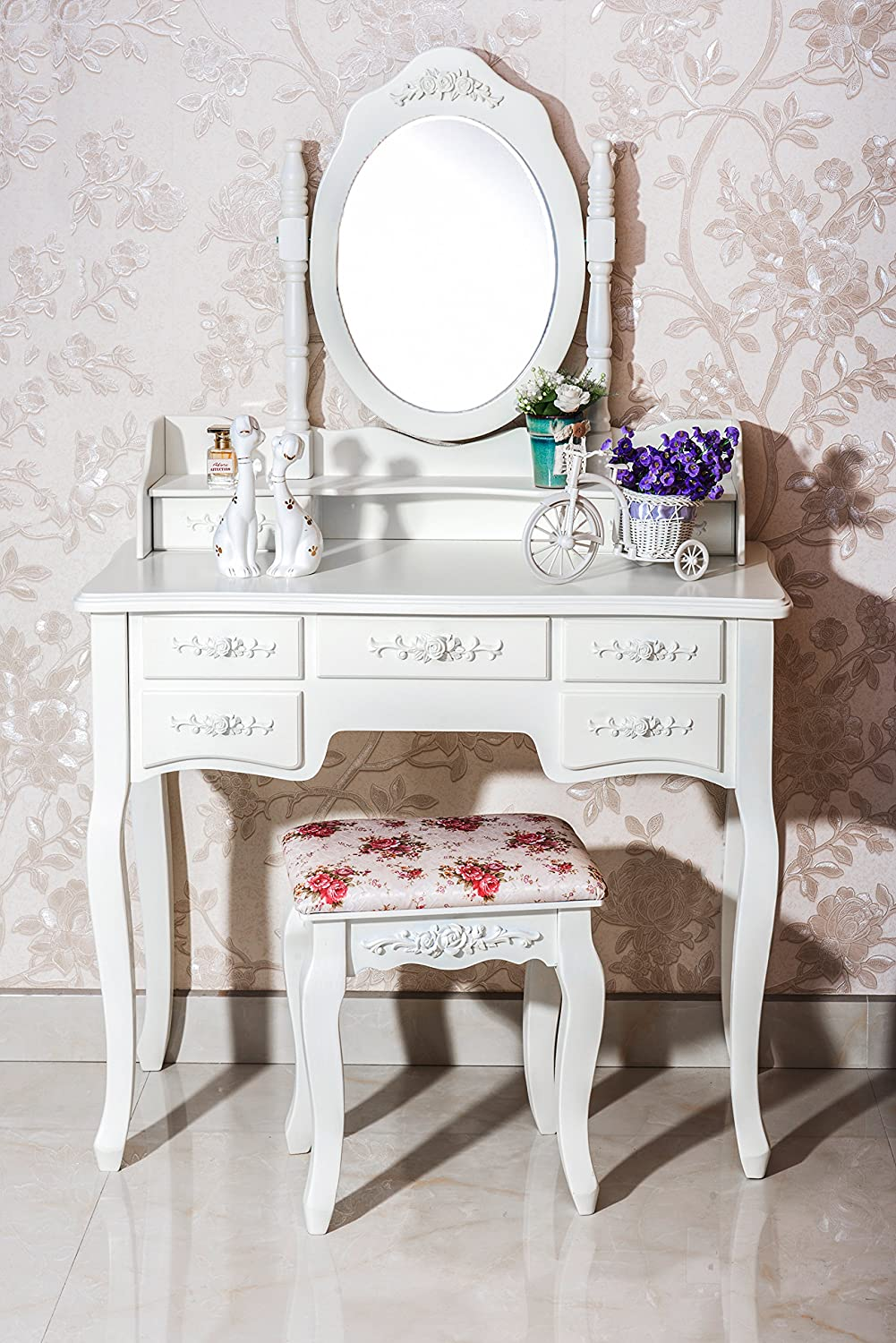 Modern dresser with mirror and chair - Amazon Com Beautiful White Label Cleopatra Vintage Vanity Table 7 Drawer Kitchen Dining
