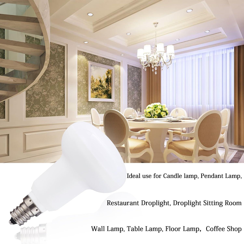 R16//BR16//R14 Mini Reflector Light Bulb 5W 3.19x1.97x1.97 IN 4 Pack Equivalent 50 Watt Halogen Bulbs Candelabra E12 Base LED Flood light Bulb Dimmable 2700K Warm White 500Lumens 120Volt