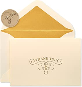 Papyrus Thank You Cards with Envelopes, Gold Flourish (16-Count)