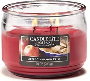 Candle-lite Everyday Scented Apple Cinnamon Crisp 3-Wick 10oz Medium Glass Jar Candle, Spiced Orchard Fragrance