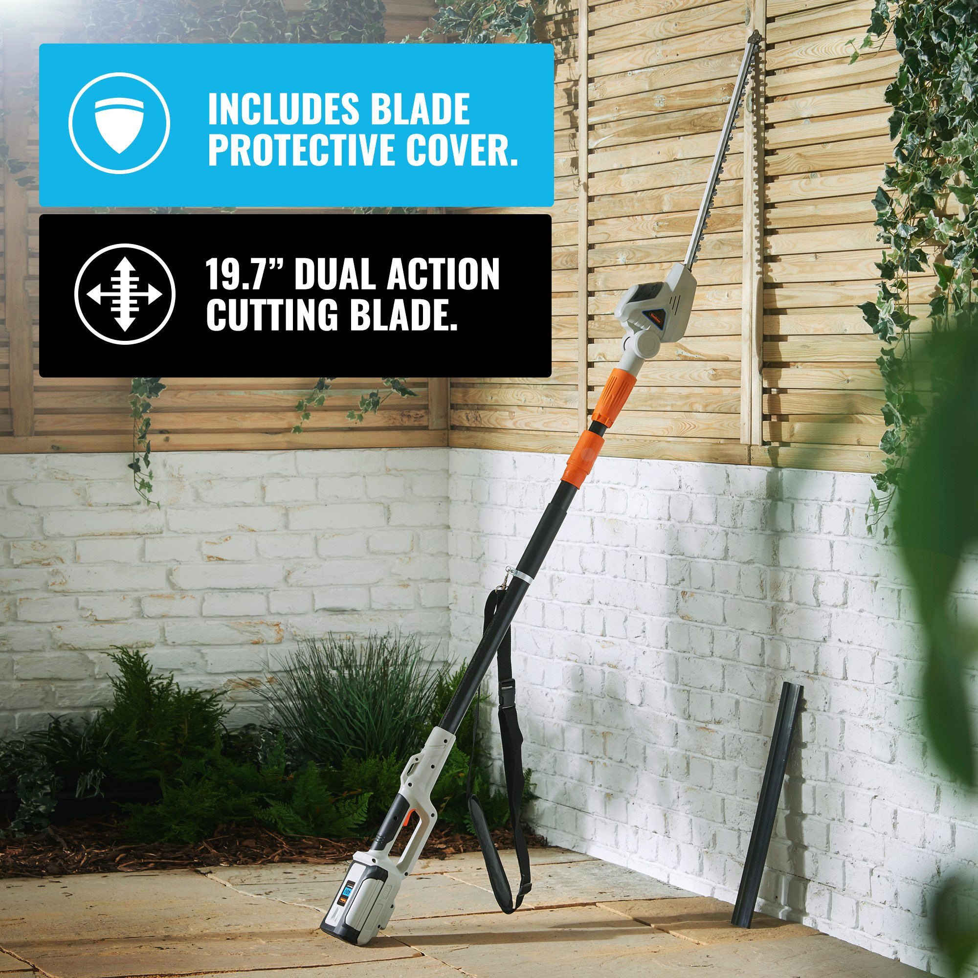 """VonHaus 40V Max Cordless 20'' Pole Hedge Trimmer with 83.8"""" to 107.5"""" Telescopic Extension - Includes 2.0Ah Battery and Charger by VonHaus (Image #1)"""