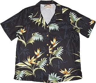 product image for Paradise Found Women's Bird of Paradise Bamboo Aloha Shirt, Black, XL