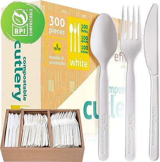 Juego de cubiertos compostables – 100% biodegradable y desechable ...