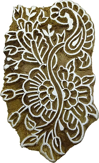 Brown Floral Pattern Hand Carved Wooden Block Textile Wood Stamp Printing Blocks