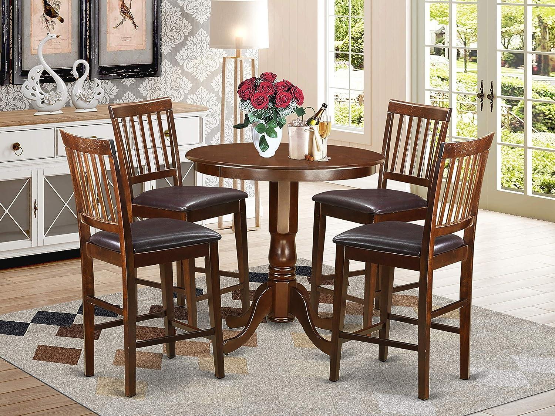 Amazon Com 5 Pc Pub Table Set High Table And 4 Bar Stools With Backs Furniture Decor