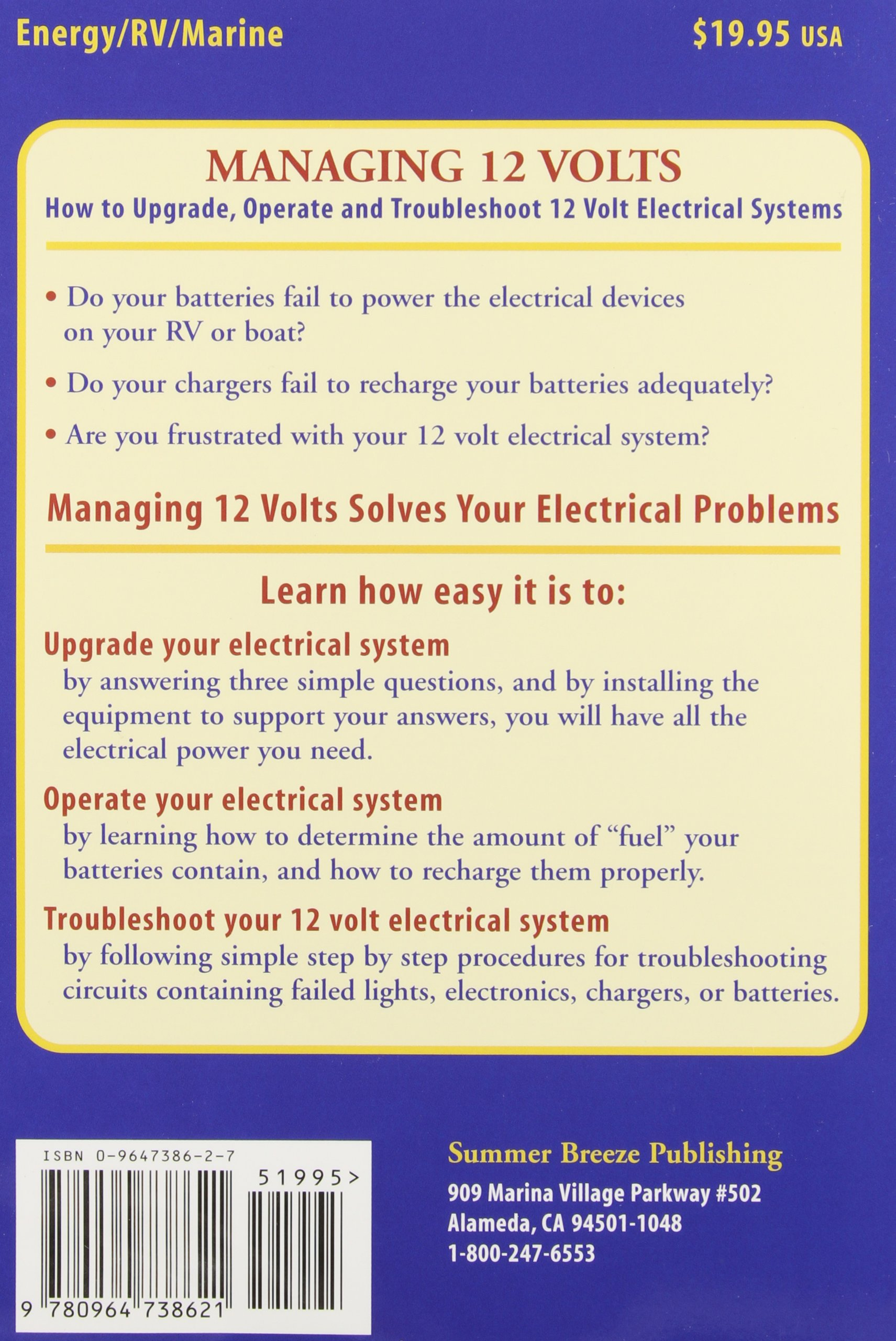 Managing 12 Volts How To Upgrade Operate And Troubleshoot Volt Upgrading My Rv Battery Bank System Electrical Systems Harold Barre 9780964738621 Books