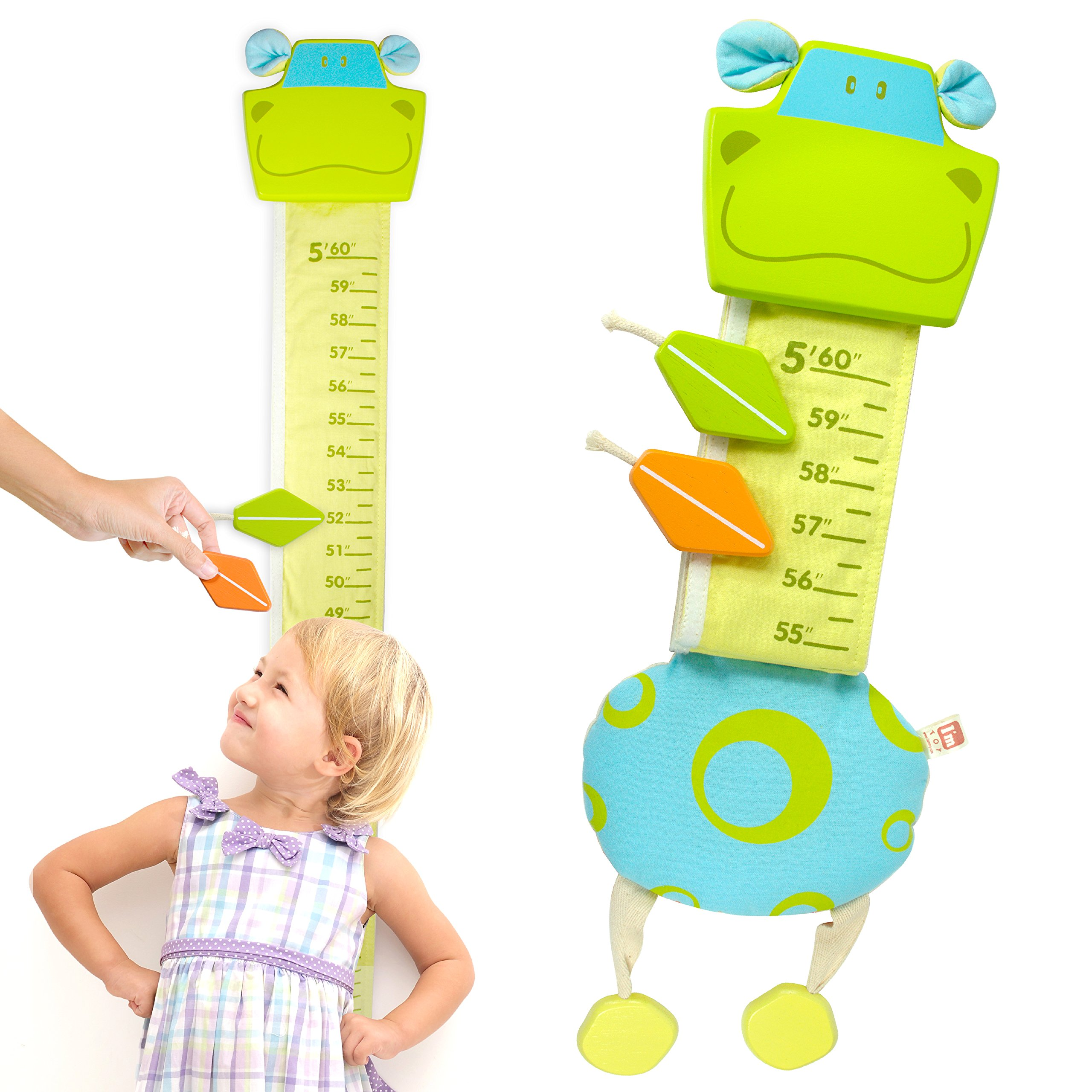 I'm Wood and Fabric Wall Growth Chart, Height Measurement, Scale, Ruler for Kids (Hippo)
