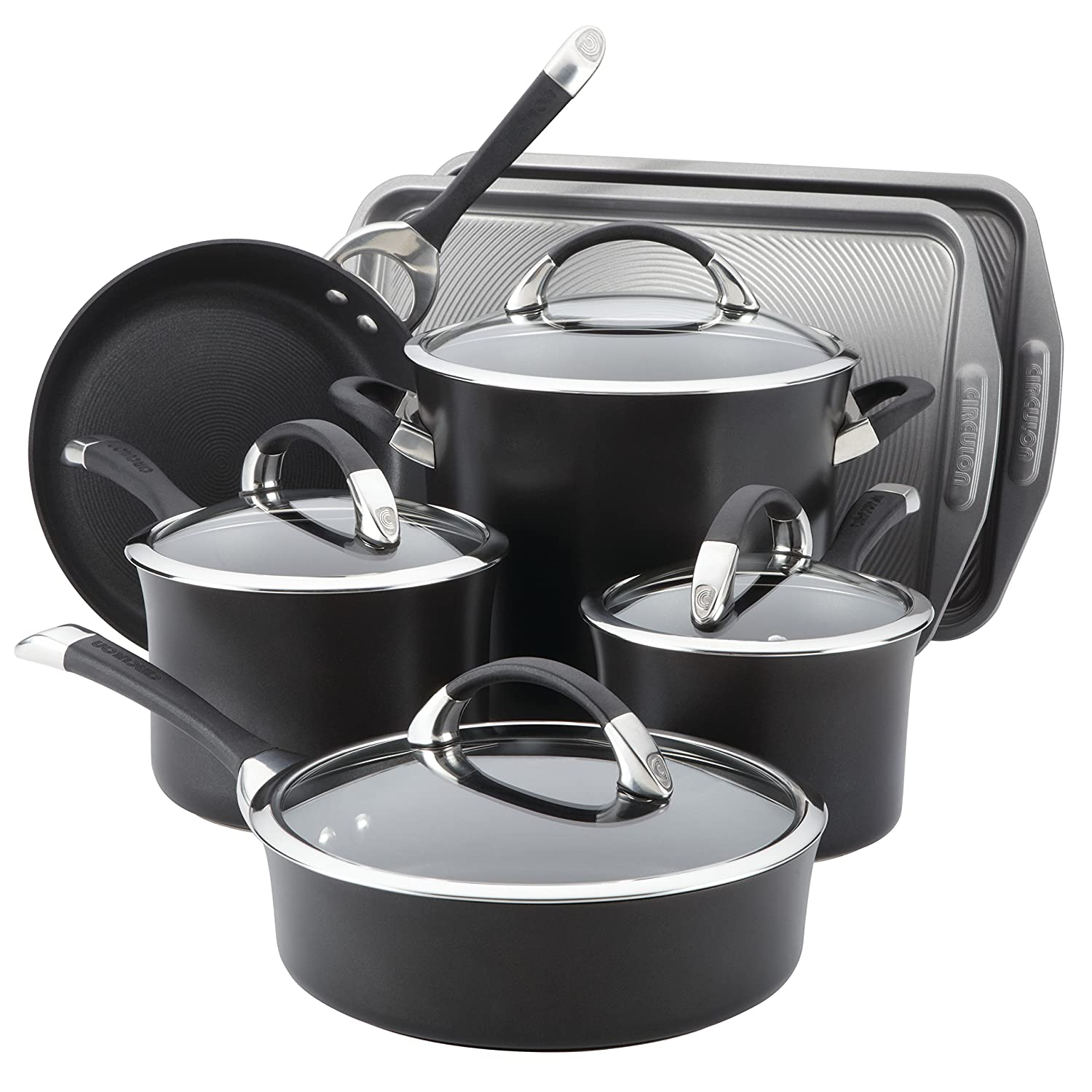 Circulon Symmetry Hard Anodized Nonstick 9-Piece Cookware Set plus 2-Piece Bakeware Set, Black