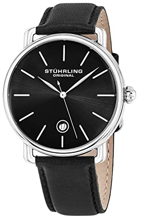 1f6d0edbdbd10 Stuhrling Original Ascot Mens Black Watch - Swiss Quartz Analog Date Wrist  Watch for Men -