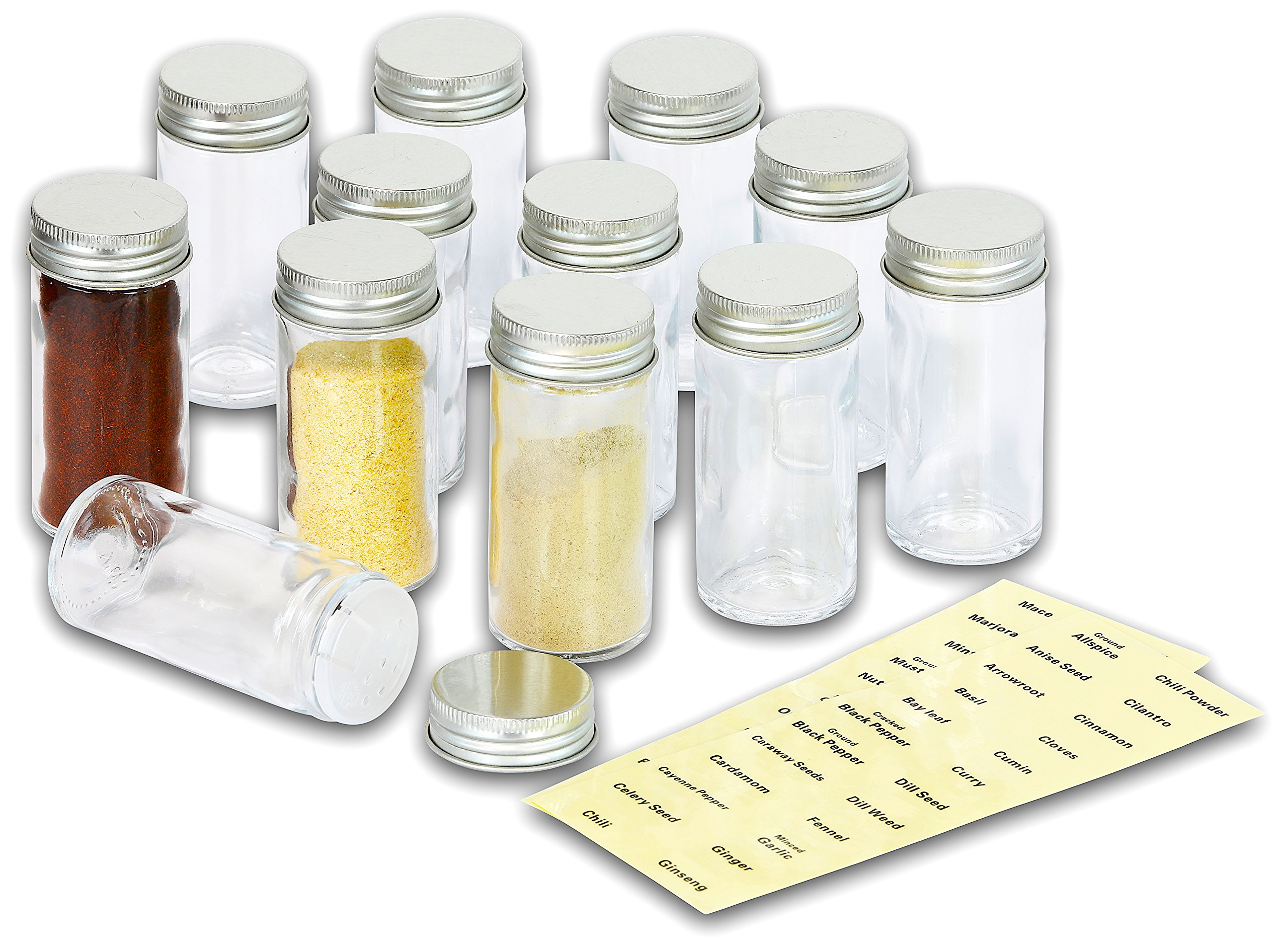 elegant 12 spice round bottles jar organizer 48 spice labels and 20