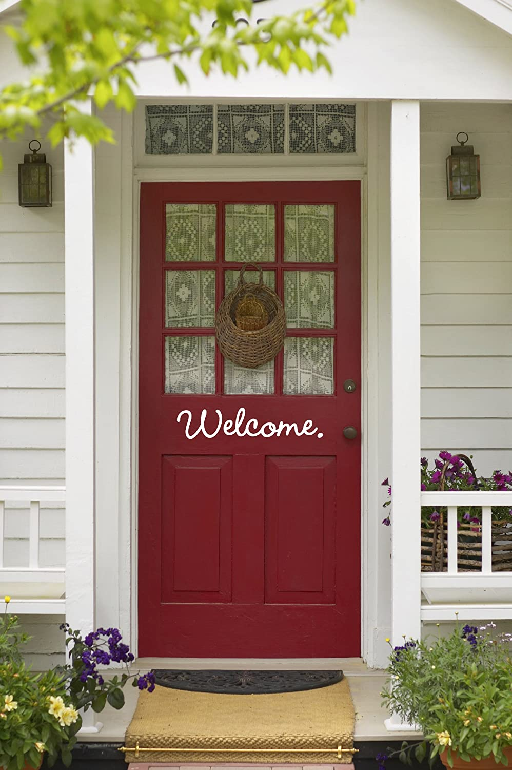 Curb appeal ideas red door welcome vinyl decal