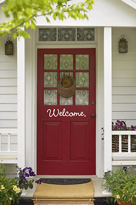 Charming Imprinted Designs Cute Decorative Front Door Vinyl Decal Sticker Art ( Welcome 4u0026quot; ...