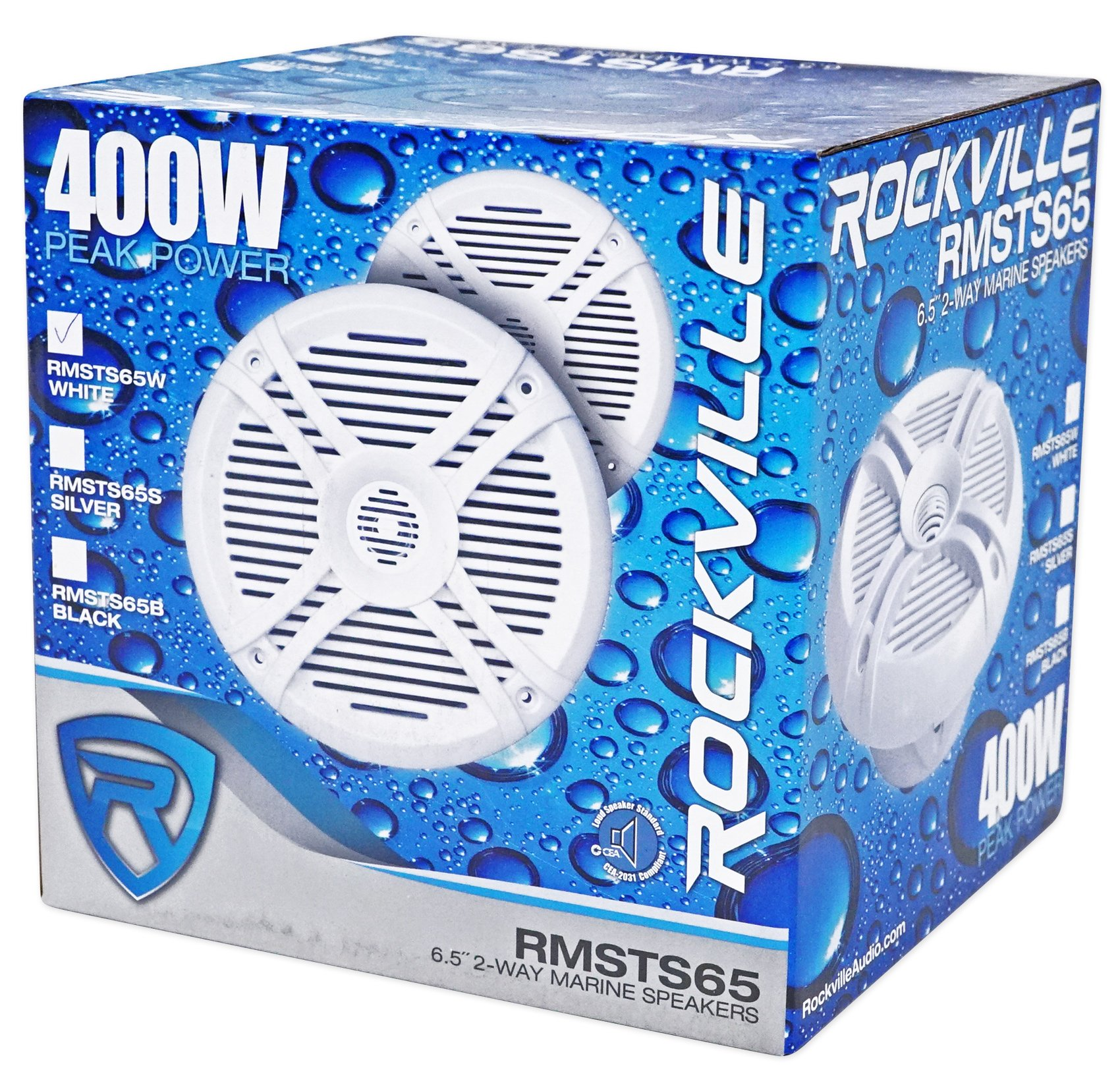 4) Rockville RMSTS65W 6.5'' 1600w Marine Boat Speakers+8'' Wakeboards+Amp+Wire Kit by Rockville (Image #5)