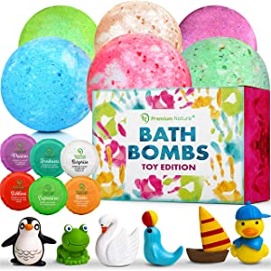 Bath Bombs for Kids Set - Big Ball Fizzy Bathtub Time Bombs with Mini Toys Surprise Amaze Gift Box Childrens Toddlers Girls and Boys Bubble Baths Natural Organics Kid Boms Bathbomb Kit Non Toxic