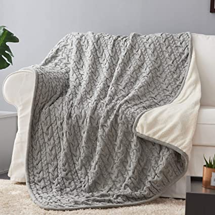 Longhui Bedding Grey Cotton Cable Knit Sherpa Throw Blanket Thick Soft Big Cozy Gray Knitted Fleece Blankets For Couch Sofa Bed Large 50 X