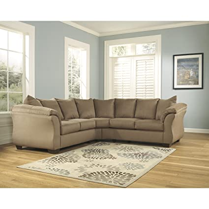 Admirable Flash Furniture Signature Design By Ashley Darcy Sectional In Mocha Microfiber Cjindustries Chair Design For Home Cjindustriesco
