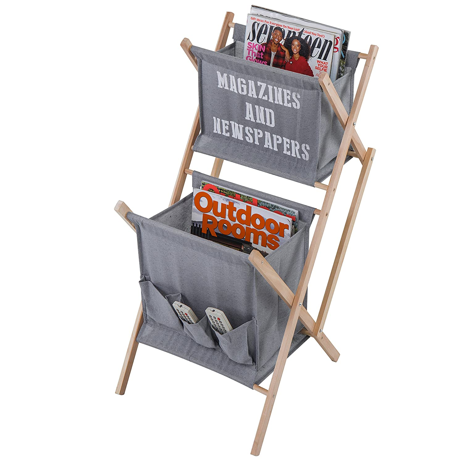 MyGift 2-Tier Canvas and Wood Storage/Magazine Holder Rack with Media Pouches