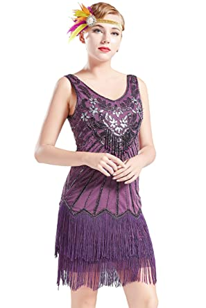 Image Unavailable. Image not available for. Color  BABEYOND Women s Flapper  Dresses 1920s V Neck Beaded Fringed Dress Dress Great ... 515bb58e4